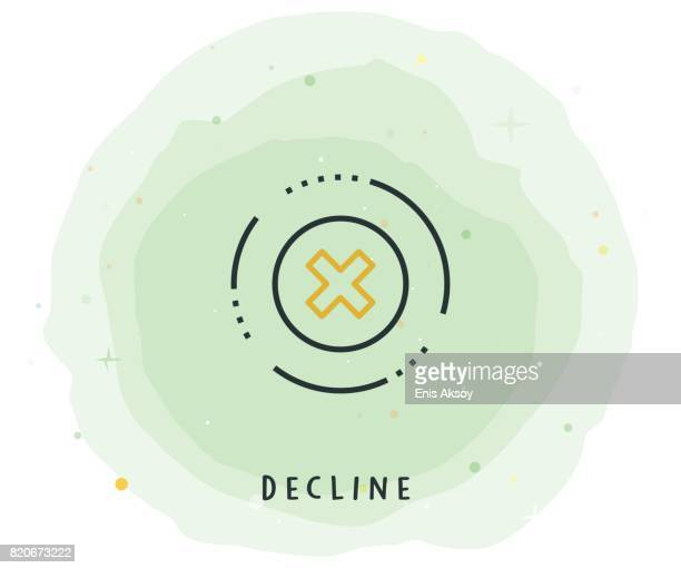 Decline Icon with Watercolor Patch