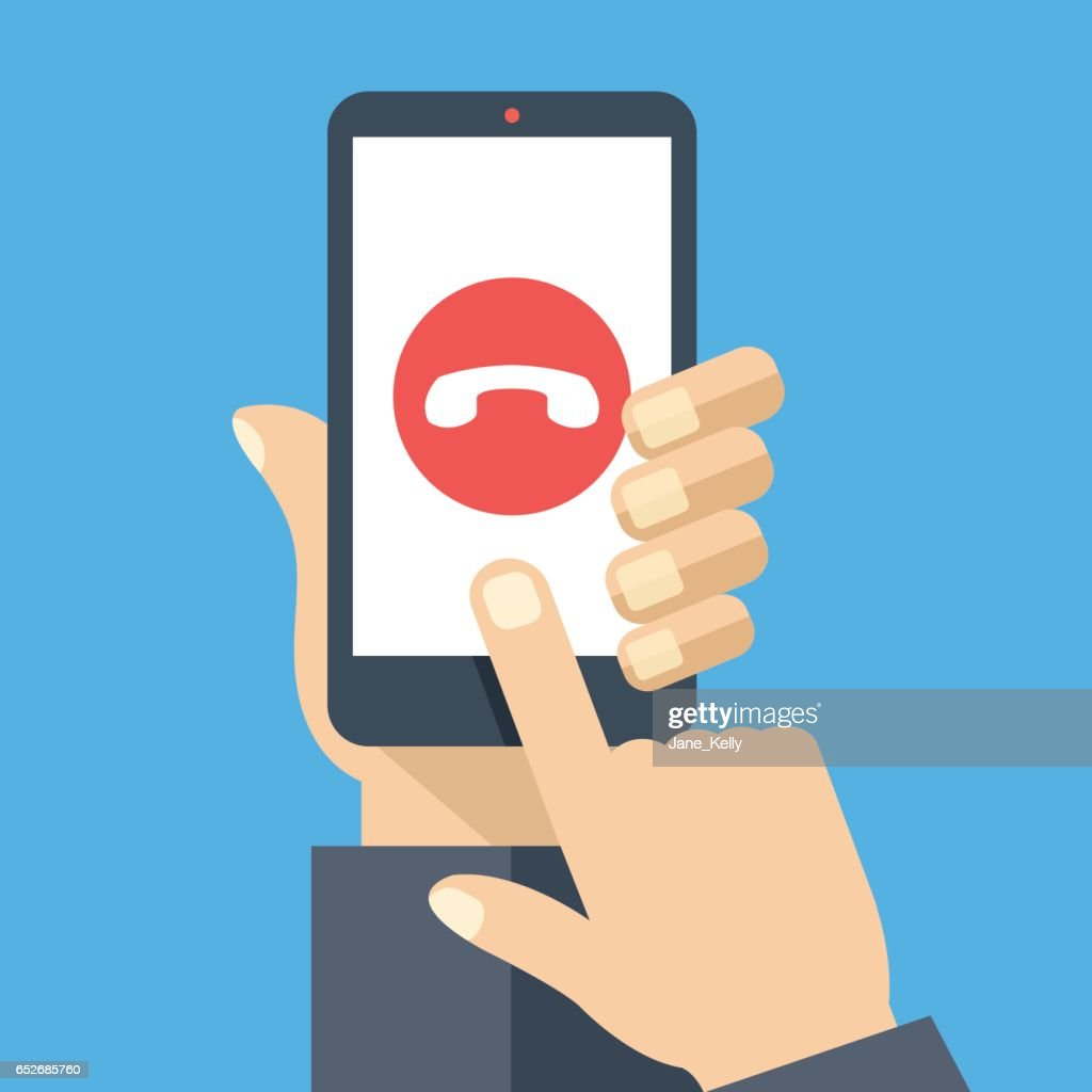 Decline phone call button on smartphone screen. Hand holding smartphone, finger touching screen. Reject call. Modern flat design vector illustration