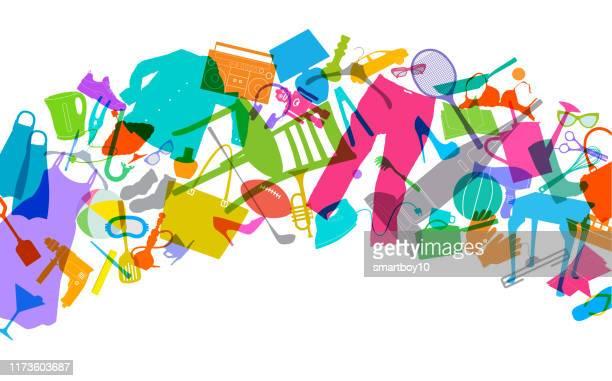 ilustraciones, imágenes clip art, dibujos animados e iconos de stock de declutter - venta de garaje