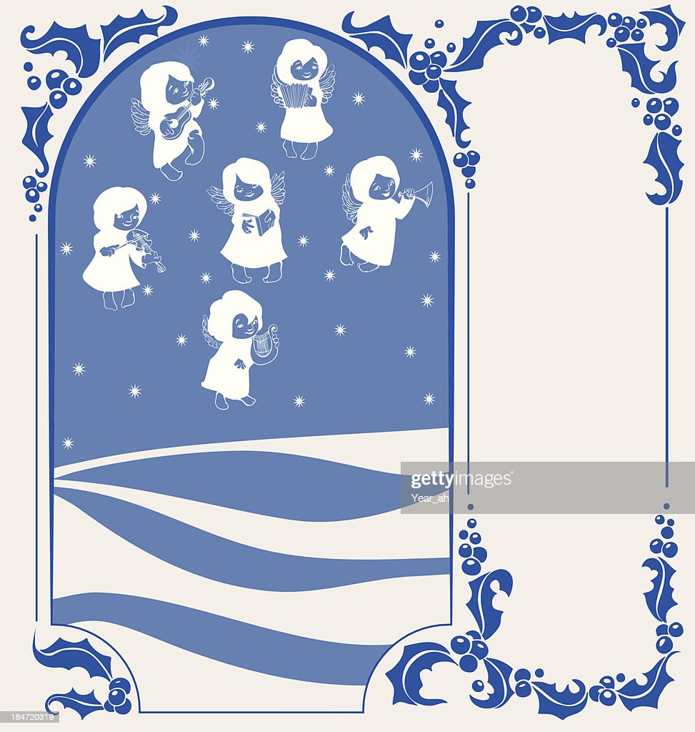 Decorated background with angels singing Christmas carol and plaing music