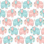 Decorated blue and pink elephants. Seamless background pattern.
