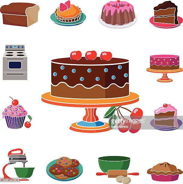 decorated cake on stand with square food and baking border