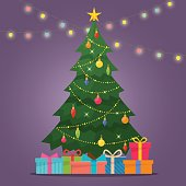 Decorated christmas tree with gift boxes