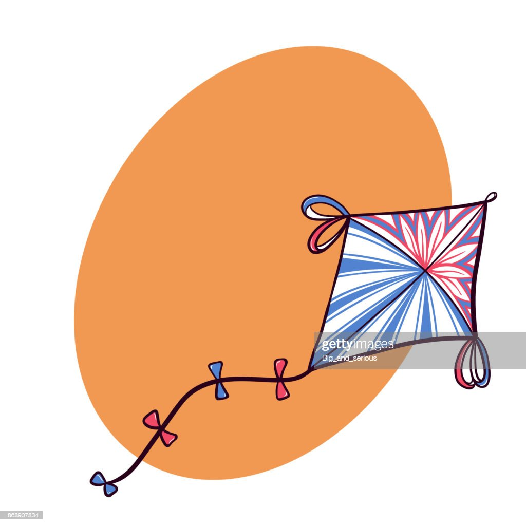 Decorated diamond doodle kite with space for text