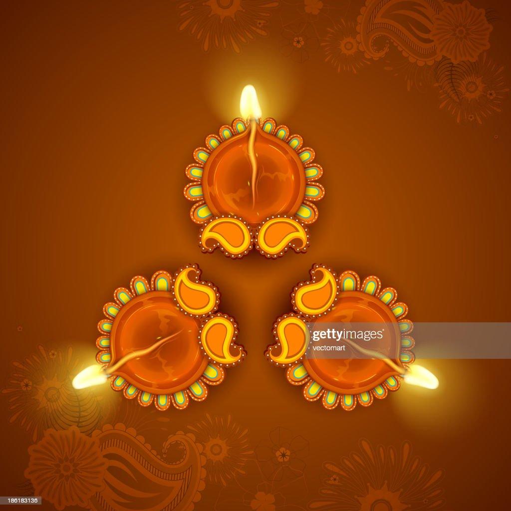 Decorated Diya for Diwali Holiday