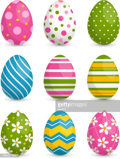decorated easter eggs - egg stock illustrations