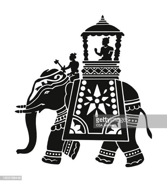 ilustrações de stock, clip art, desenhos animados e ícones de decorated elephant with rider in carriage - elefante