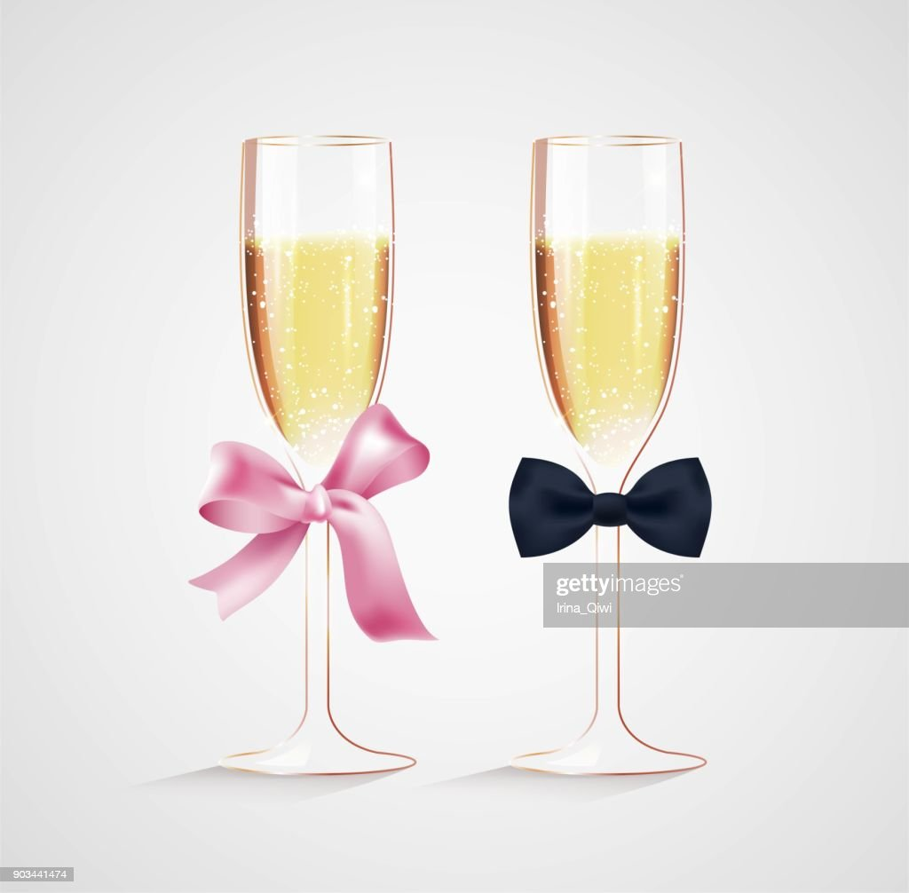 Decorated glasses of champagne.