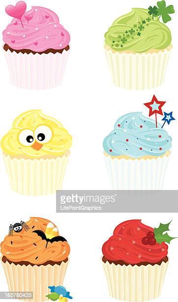 ilustraciones, imágenes clip art, dibujos animados e iconos de stock de cupcakes decoración navideña - roscadepascua