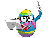 Decorated mascot easter egg holding laptop isolated