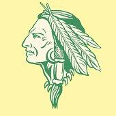Decorated Native American man profile