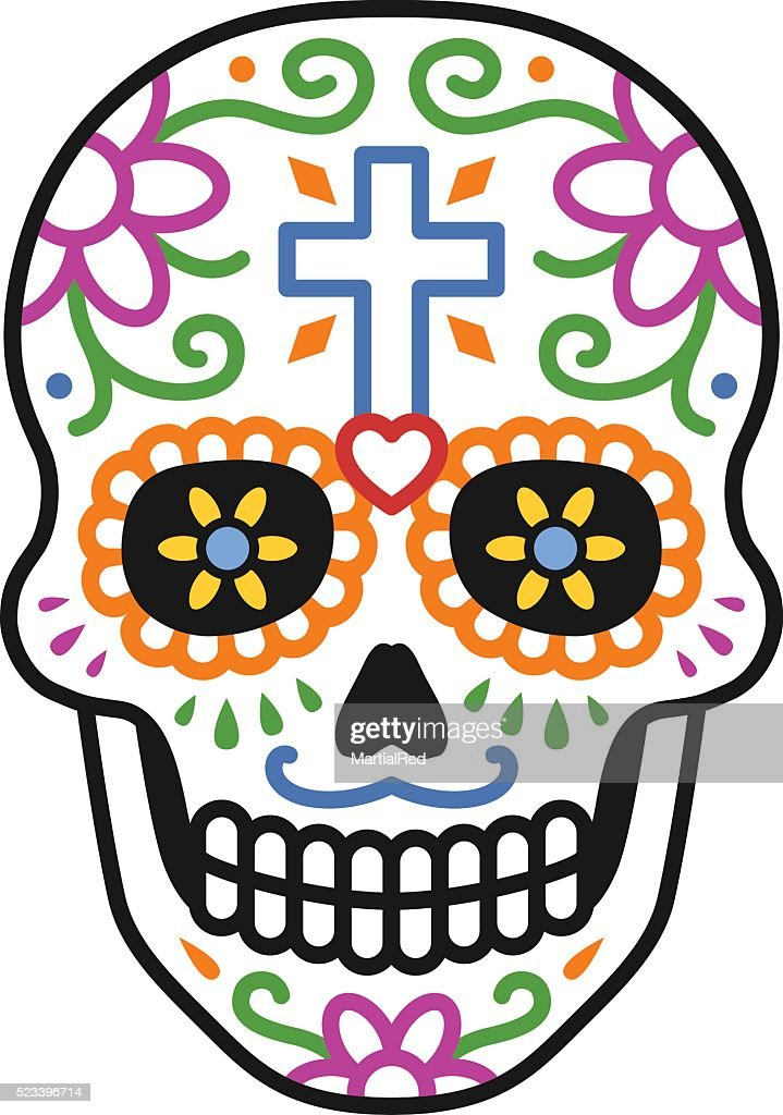 Decorated skull / calavera celebrating Day of the Dead colorful illustration
