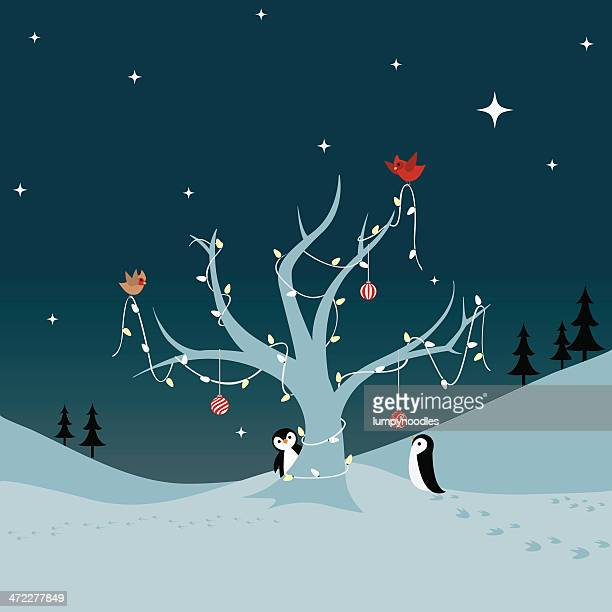 decorating the tree! - animal track stock illustrations, clip art, cartoons, & icons