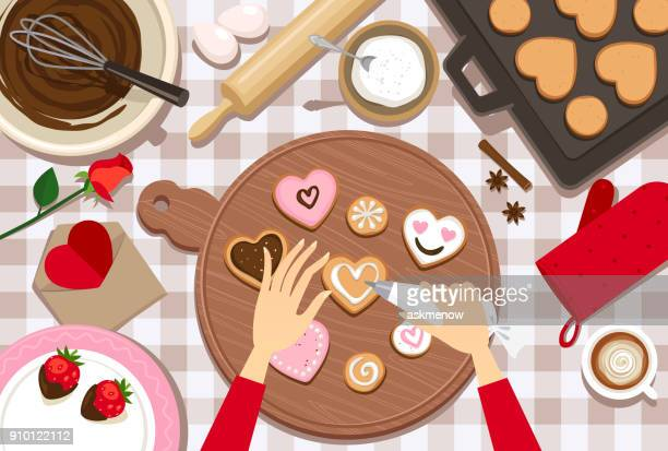 decorating valentine's day cookies - cookie stock illustrations, clip art, cartoons, & icons