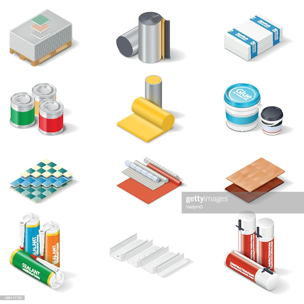 Decoration and insulation materials isometric icon set