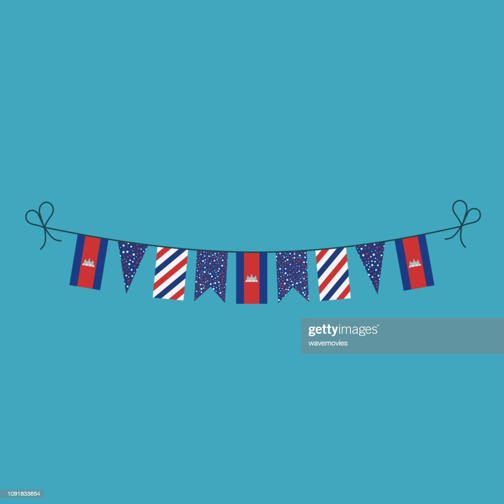 Decorations bunting flags for Cambodia national day holiday in flat design