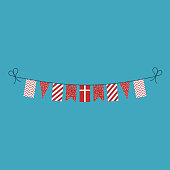 Decorations bunting flags for Denmark national day holiday in flat design