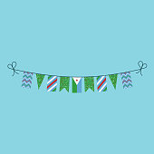 Decorations bunting flags for Djibouti national day holiday in flat design