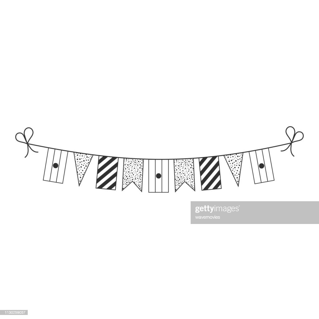 Decorations bunting flags for Niger national day holiday in black outline flat design
