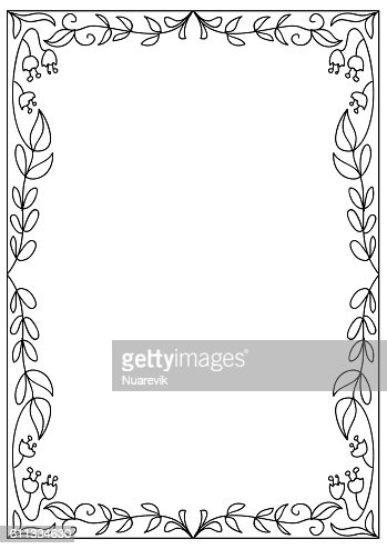 Decorative Abstract Coloring Page Frame Isolated On White ...
