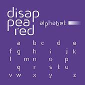 Decorative alphabet, disappeared lines vector font, sans serif style letters