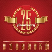 Decorative anniversary golden emblem - vector illustration