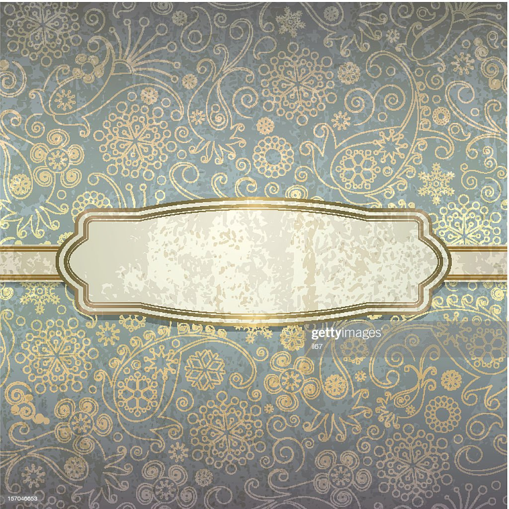 Decorative background in a retro style with golden pattern