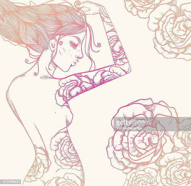 decorative beautiful woman and flowers - braided hair stock illustrations, clip art, cartoons, & icons