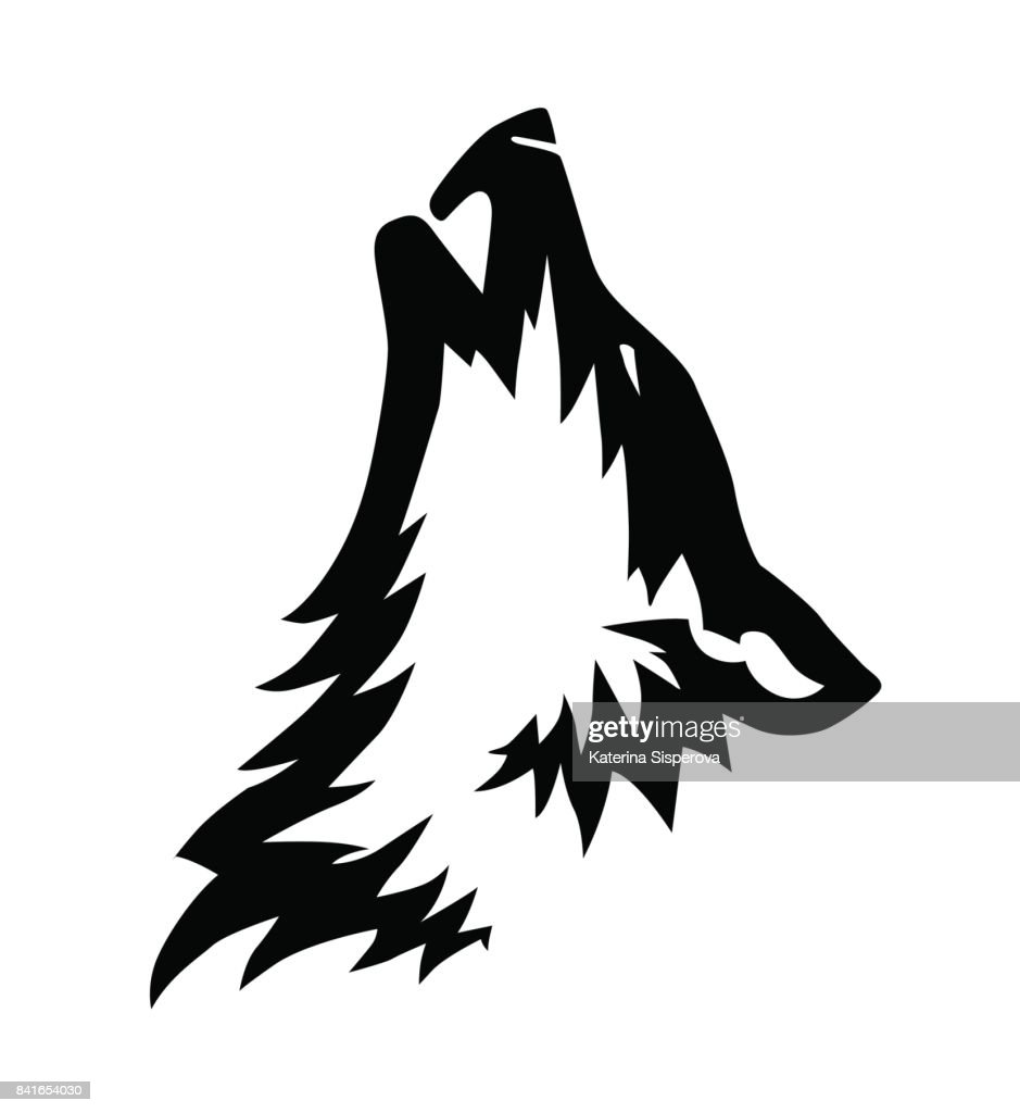 Decorative black vector wolf's head illustration or tattoo design