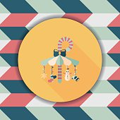 Decorative candy cane flat icon with long shadow eps10