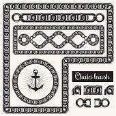 Decorative chain design elements and brush for illustrator