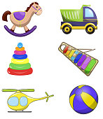 Decorative children toys set of horse ball rainbow xylophone pyramid helicopter truck isolated vector illustration. Colorful cartoon Illustration. Toy icons