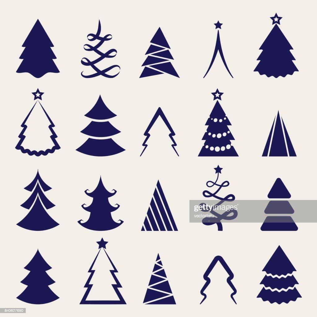 Decorative christmas tree icons set