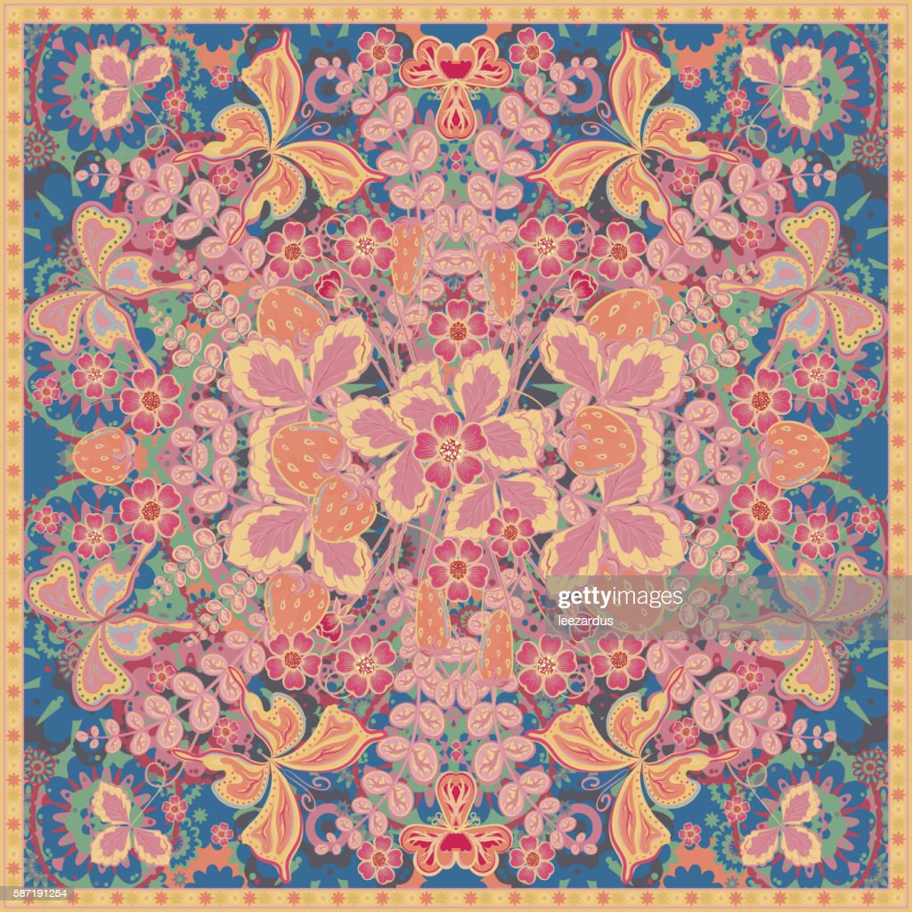 Decorative color floral background, strawberry pattern and ornate lace frame