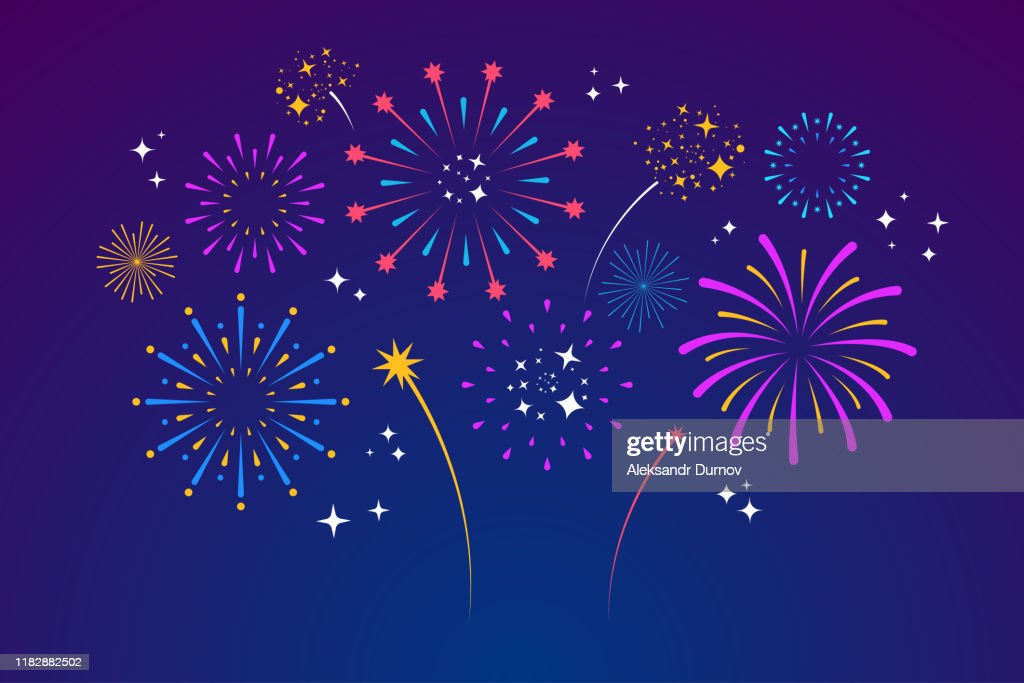 Decorative colorful fireworks explosions isolated on dark background. New Year's Eve fireworks. Festive sparks and explosions. Element for yor design. Vector illustration : stock illustration