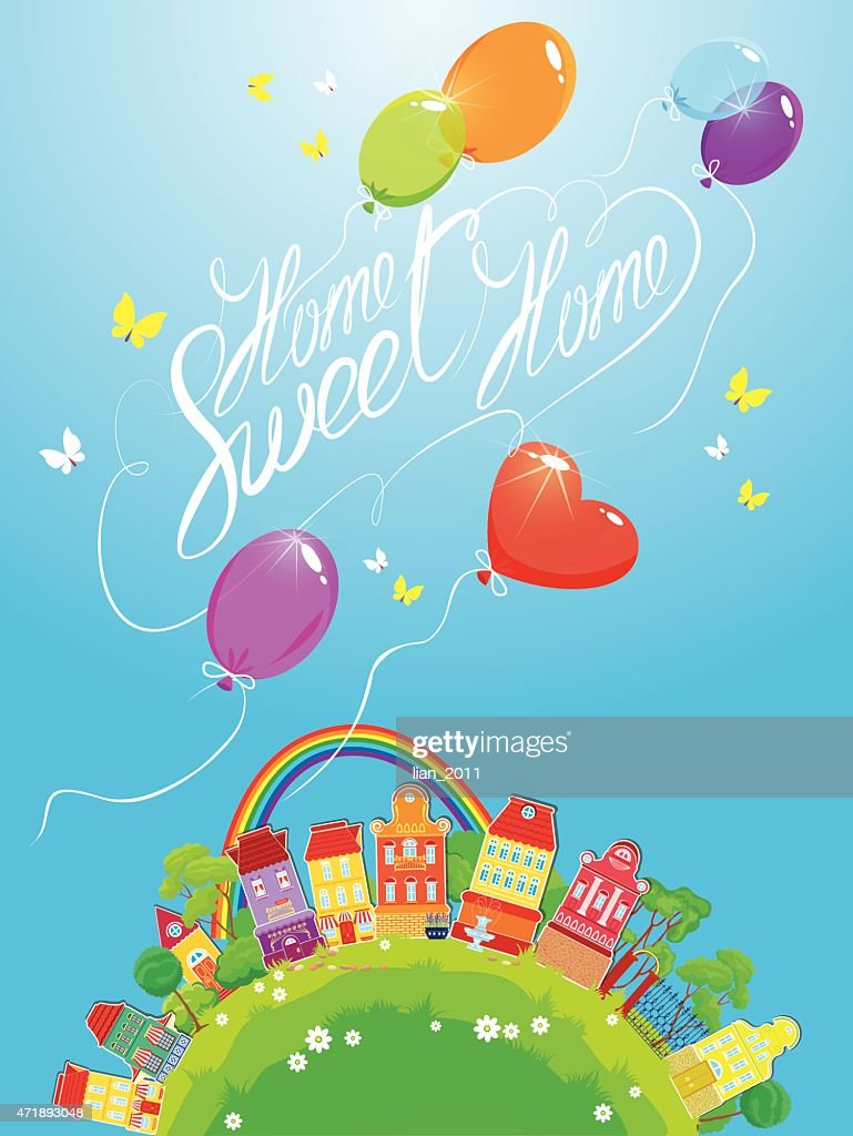 Decorative colorful houses, trees, rainbow and ballons on sky background