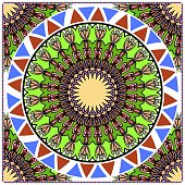 Decorative colorful ornament with round mandala decoration. symmetric pattern . For print Bandanna, shawl, tablecloth, fabric fashion, scarf, design