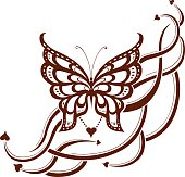 Decorative composition of curls and ornamented abstract silhouette butterfly