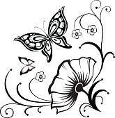 Decorative composition of curls, flower and ornamented abstract silhouette butterflies