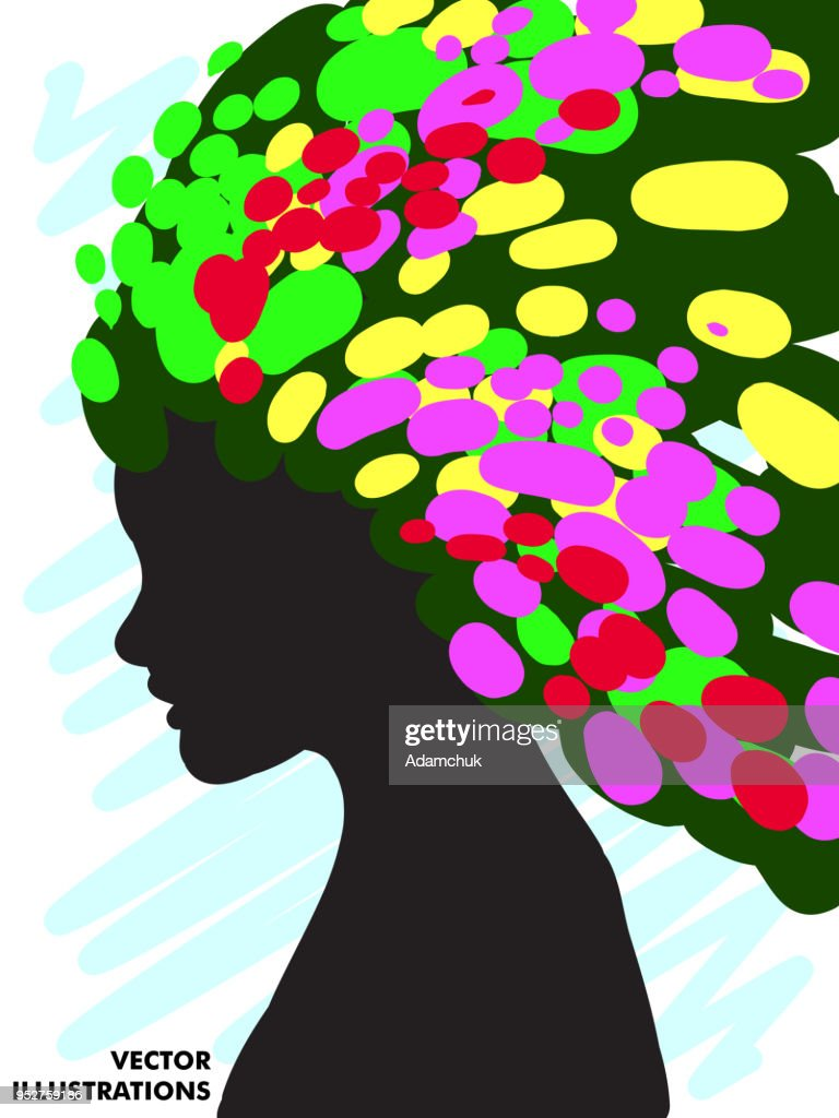 Decorative composition of girl silhouette with abstract hairstyle. hand-drawn. Individual corporate identity. It can be used as a postcard. Vector