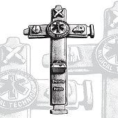 Decorative cross souvenir - crucifix with medical emblems.