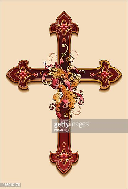 decorative cross. - crucifix stock illustrations, clip art, cartoons, & icons