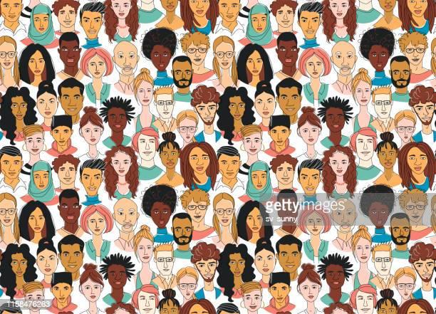 Decorative diverse women's men's head seamless pattern background. Multiethnic gruop