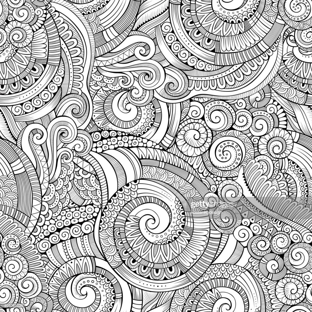 decorative doodles seamless pattern