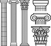 Decorative Doric, Ionic and Corinthian Classic Columns