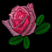 Decorative embroidery rose.