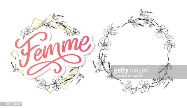 decorative femme text lettering calligraphy flowers