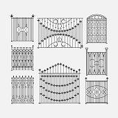Decorative fences, black and white image, gates