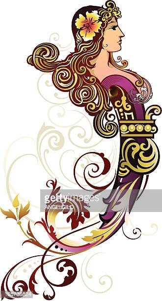 decorative figurehead - art nouveau stock illustrations, clip art, cartoons, & icons