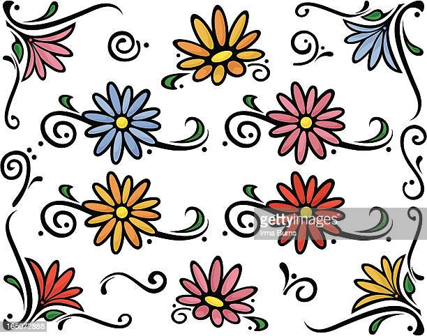 decorative florals with swirls - gerbera daisy stock illustrations, clip art, cartoons, & icons